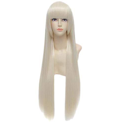 Baisheng Chobits 80cm Milch Goldene Blonde Gerade Lange Synthetische Volle Cosplay Kostüm Perücke (80cm-Milchgold)