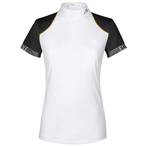 Equiline Poloshirt für Damen, Barit, kurzärmlig M weiß/schwarz