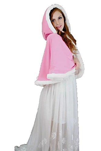 alloween Kostüme Weihnachten Hochzeit Wraps Kurz Kapuzen Rosa Weiß Reversible Pelz Kalter Schutz Brautjacken (Rosa) (Rosa Parks Halloween Kostüm)