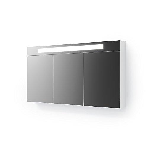 Vicco 3D LED Spiegelschrank Weiß Badschrank Badspiegel Badezimmerspiegel Beleuchtung (120 cm)