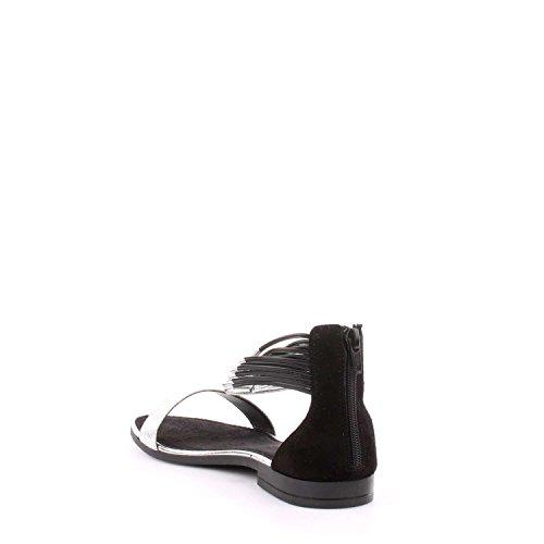 Sandalo Cafè Noir GF620 in laminato con cavigliera nero/argento Nero