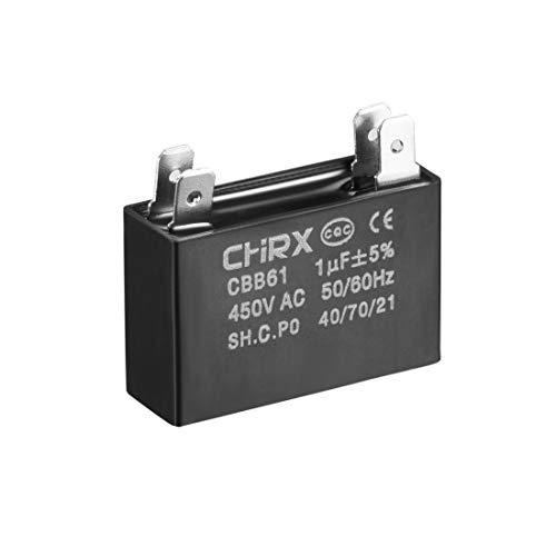 sourcing map CBB61 Kondensator 450 V AC 1 uF 2 Einsatz metallisierte Polypropylen-Folie Kondensatoren für Deckenventilatoren (Kondensator Ac)