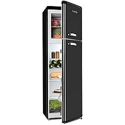 Klarstein Audrey Retro • Combiné réfrigérateur 194 L • Congélateur 56 L • A++ • 3 étagères en verre • 1 grille à bouteilles • 4 compartiments de porte • noir