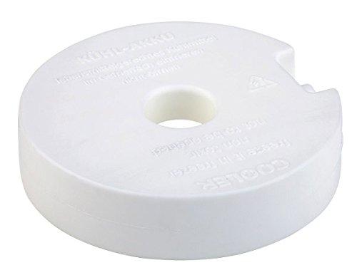 APS Kühlelement / Kühlakku rund, ca. Durchmesser 10,5 cm, Höhe 2,5 gefüllt mit Kühlflüssigkeit weiß einfach im Gefrierfach einfrierenr