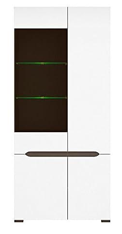 ELPASSO White And Gray Wardrobe,Display , Gray Body 4-door ,Glass Height: 200 cm