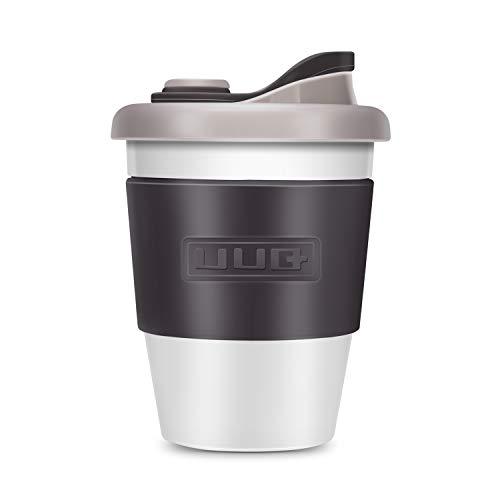UUQ Mug Café Reutilizable, Taza de Café, Café para Llevar, 12 oz Taza de café con Manga Antideslizante es Apto para lavavajillas y microondas, 340ml (Gris)