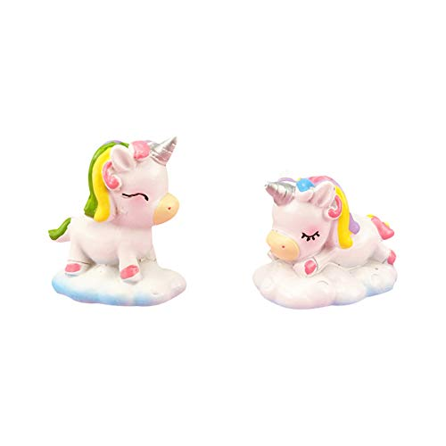 Ruiting Resina Unicorn Cake Decor 2Pcs se dirigen Ornamento Micro Paisaje Bonsai decoración de cumpleaños del Unicornio Mini Figurita