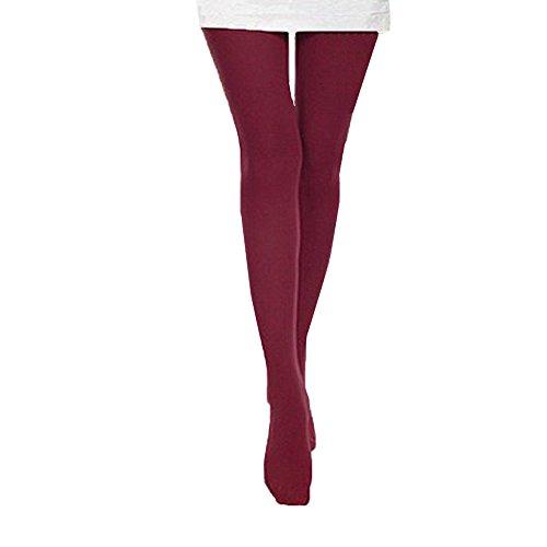 (TWIFER Herbst Overknee Strümpfe Socken Damen Winter Strumpfhosen Burnish Opaque Strumpfhosen Candy Farbe Leggings Trampel (Weinrot, Freie Größe))