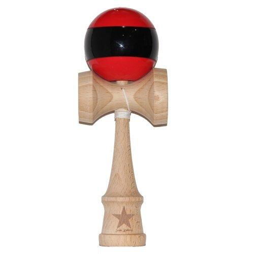 Jumbo Rouge et Noir à rayures Super Kendama, ou Bilboquet, Super collant, japonais Jouet en bois, sans fil, USA vendeur