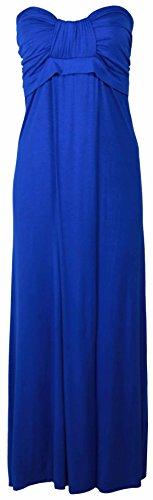 Purple Hanger - Robe Longue Été Sans Bretelle Grande Taille Haut Bandeau Noeud Maxi Neuf Bleu - Bleu marine