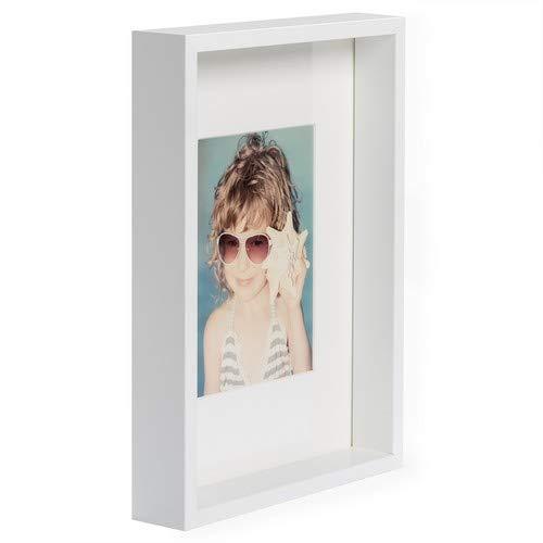 BD ART 21 x 30 cm Box Bilderrahmen mit Passepartout 13 x 18 cm, Weiß