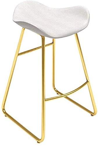 MJK Tabourets, chaises en cuir blanc avec coussin en similicuir pour siège de cuisine, pieds en métal pour comptoir de petit-déjeuner et tabouret nordique à la maison, design de restaurant de style m