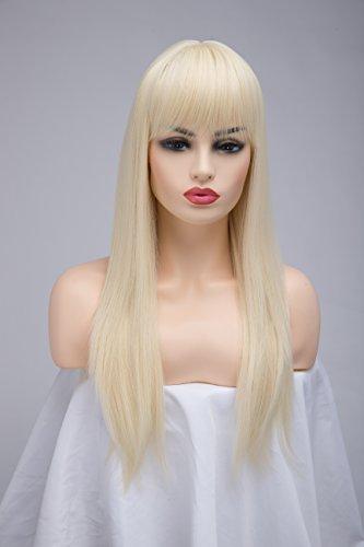 bestung Lange Gerade Ash Blonde Perücken für Frauen -
