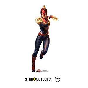 Star Cutouts SC1332 Captain Standee - Casco, diseño de estrellas de Brie Larson, 89 cm de altura, perfecto para fanáticos de Marvel, decoración de habitaciones y eventos, multicolor