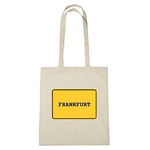 JOllify Frankfurt Borsa di cotone B296 schwarz: New York, London, Paris, Tokyo natur: Ortsschild