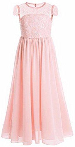 AGOGO Mädchen Kinder Kleider Festlich Brautjungfern Maxi Kleid Prinzessin Hochzeit Party Kleid Spitze Spleiß Chiffon Festzug Gr. 116 128 140 152 164 170 (170, Orange)
