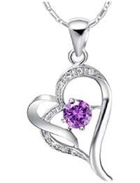 findout or blanc 18 carats plaqué Amethyst Heart Center Collier en argent