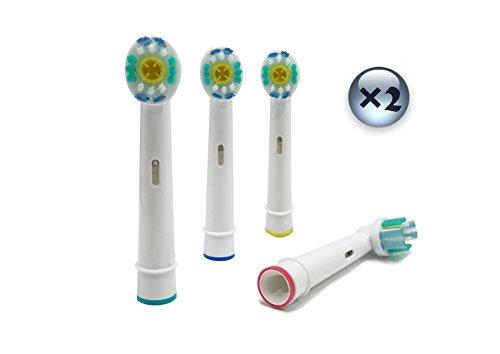 UCA® 8er Pack Aufsteckbürsten EB18-4 Zahnbürstenkopf Ersatzstücke für Braun Oral-B 3D White/PRO...