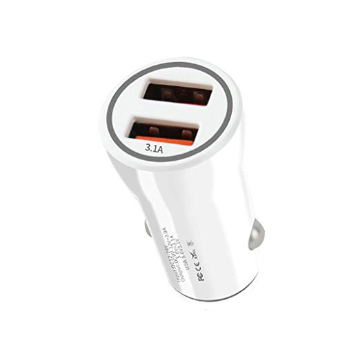 CAOQAO Caricabatteria da Auto Accendisigari/Caricabatteria da Auto 3USB / Compatibile con Apple Samsung Huawei Mp3 Mp4 e Altri Dispositivi USB/Bianco
