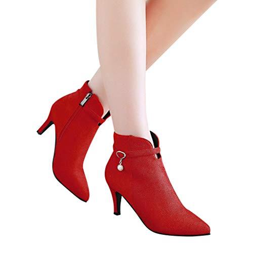 Tianwlio Frauen Herbst Winter Stiefel Schuhe Stiefeletten Boots Damen Seitlicher Reißverschluss High Heel Stiefel Gürtelschnalle Stiefeletten Stiletto Schuhe Stiefel rot 42