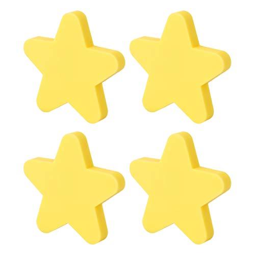 GODNECE Möbelknöpfe Kinderzimmer Set Möbelknöpfe Stern 4er Set (Gelb)