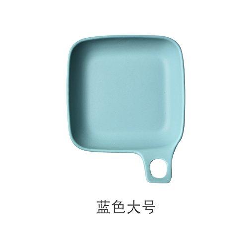he Geschirr Keramik Fach Tief Fach Suppentopf Home Square Backblech Westlichen Tastatur Käse Gebackener Reis Teller, Blau (Groß) ()
