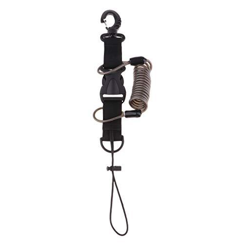 Baoblaze Premium Tauchen Spiralkabel Spring Coil Lanyard Kamera Sicherheitsleine - Schwarz