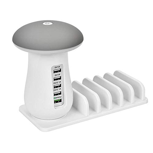 Eulan 5 Ports - Charging Station Dock, Multiple Devices USB 3.0 Charging Station Dock Mushroom LED nightlight Quick Charging Station Organizer for iPhone Samsung LG Moto Sony (Nokia At&t Windows Phone)