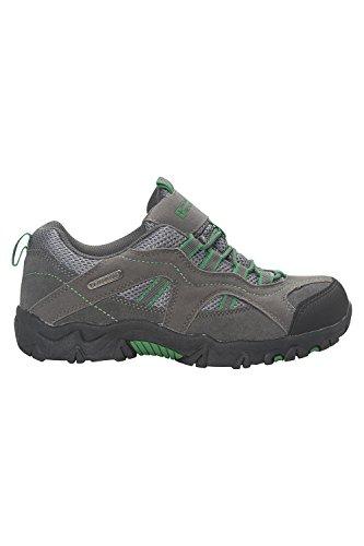 Mountain Warehouse Stampede Chaussures de Randonnée Enfants Fille Garçon Imperméable Suede Sportif Confort Vert