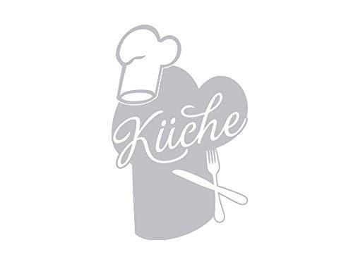 GRAZDesign 980233_50 Fenstertattoo Schritzug Küche mit Kochmütze | selbstklebende Fensterfolie für Küche/Aufkleber für Glas-Tür (79x50cm) -