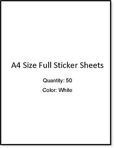 IMNSticky 50 Sheets of A4 Size White Sticker Paper, Adhesive Maplitho Blank Sticky Sheets for Laser, Copier, Inkjet Printer and Writing with Pen/Pencil