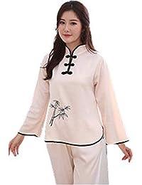 JYHTG Pijama De Bordado De Las Mujeres Conjunto De Estilo Chino Pijama De Botón Vintage Juego