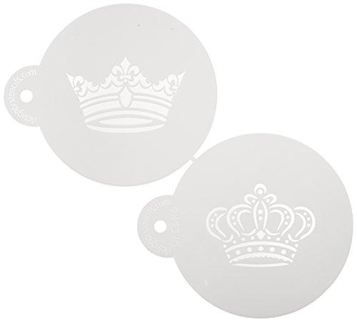 designer-stencils-c586-royal-crowns-cookie-stencil-set-king-and-queen-crowns-beige-semi-transparent