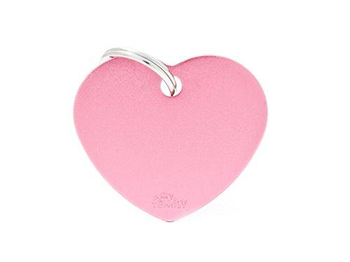 Chapa MyFamily Corazón Grande Aluminio Rosa placa perro grabado gratuito gato