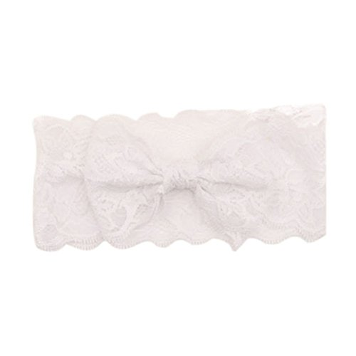 FEITONG Nouvelle arrivée Fashion Girls Lace Big Bow Hair Band bébé Head Wrap Band Accessoires (blanc)