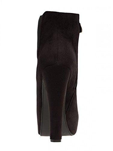 CASPAR SBO077 Bottines à talons hauts et plateaux pour femme Noir
