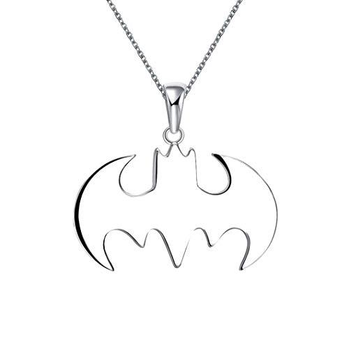TINGU Batman-Halskette, Silber, tolles Geschenk für Freunde, Steampunk-Schmuck