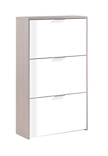 Habitdesign LC0877R - Zapatero con 3 Puertas Capacidad 18 Pares, Color Exterior Roble y Frontales Blanco Brillo, Medidas: 60 x 113 x 22 cm de Profundidad