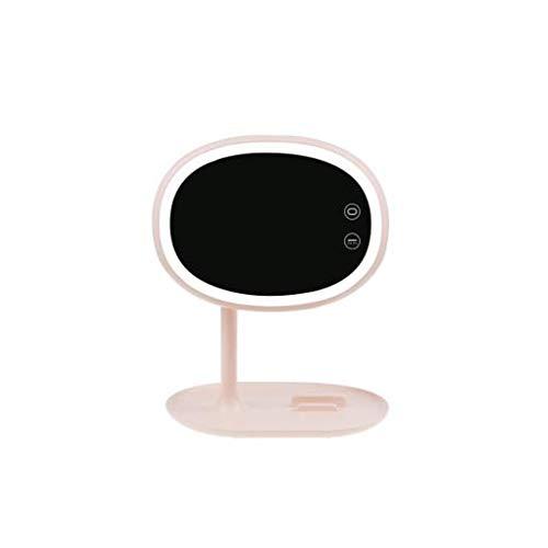 BHXUD Miroir Maquillage, Miroir Cosmétique, Le Miroir De Miroir éClairé par LED Portatif Et Rotatif Peut êTre Placé,Pink