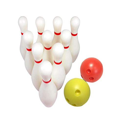 STOBOK 12pcs Large Size Bowling Play Sets Indoor Outdoor Sports Bowling  Games Toy for Children Kids (10pcs Bowling Pins White + 2pcs Balls Random