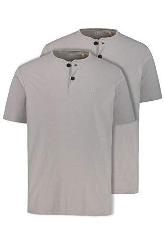 JP 1880 Herren große Größen bis 7XL, T-Shirt im Doppelpack, Henley-Shirt in blau, 100% Baumwolle, Rundhals mit Knopfleiste grau-Melange 3XL 708420 12-3XL