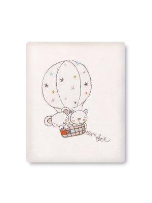 pirulos 85311610Überwurf microlina 120x 155, Motiv Ballon, Weiß und Leinen