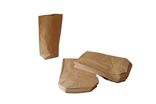 50 Kreuzbodenbeutel Papier 19 x 29 cm braun Natron für 1,5 kg - gefädelt