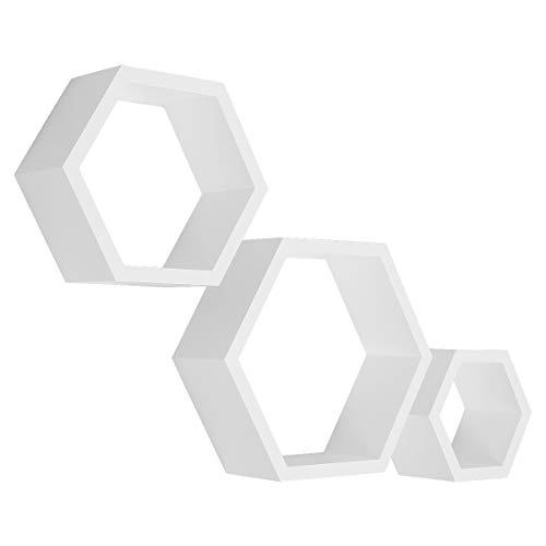 LEMAIJIAJU Etagère Murale Lot de 3 Etagère Flottantes Suspendues Hexagonales Etagère Rangement Étagère Panneau Mural Blanc