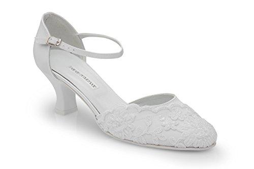 Brautschuhe mit edler Spitze und Perlchen, Absatzhöhe 5,5 cm, weiß