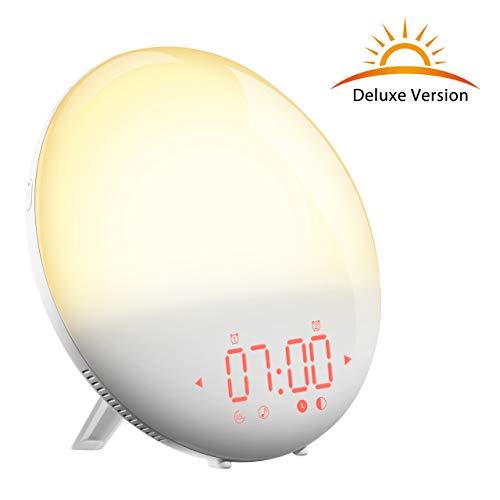 Lichtwecker(Deluxe Version), PICTEK Tageslichtwecker,Lichtwecker mit FM Radio,Wake up light LED, Sonnenaufgangfunktion, Nachttischlampe,20 Dimmstufen,6 Naturtöne, Snooze Funktion,elegantes Design