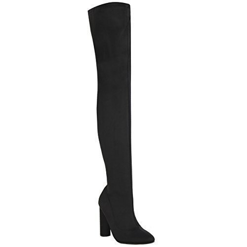 Womens Ladies Thigh High Stretch Lycra Boots Over The Knee Celeb High...