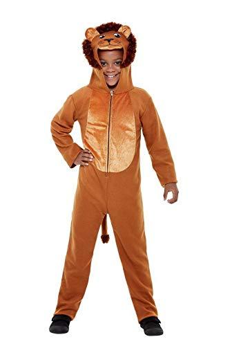 r Jungen Mädchen Kostüm Plüsch Löwe Lion Fell Einteiler Onesie Overall Jumpsuit, perfekt für Karneval, Fasching und Fastnacht, 122-134, Braun ()