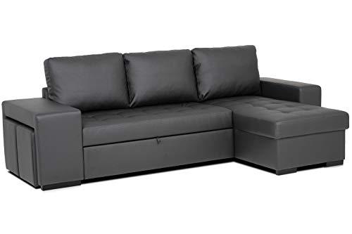Confort24 Chloe Sofá Cama 3 Plazas Chaise Longue Reversible com 2 Puffs...