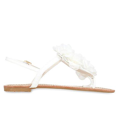 napoli-fashion Modische Damen Sandalen Blumen Zehentrenner Sommer Schuhe Party Hochzeit Jennika Weiß
